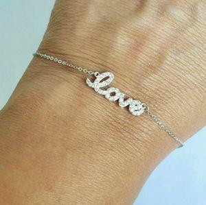 35 carat 14k white Gold love chain Bracelet 7-8 In